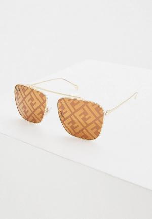 Очки солнцезащитные Fendi. Цвет: золотой