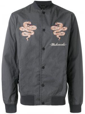 Куртка-бомбер с вышивкой Maharishi. Цвет: серый