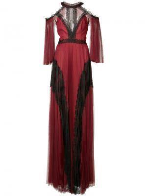 Платье с открытыми плечами Marchesa Notte. Цвет: красный