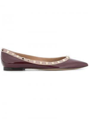 Балетки с заостренным носком заклепками Valentino. Цвет: розовый и фиолетовый