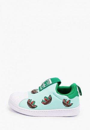 Слипоны adidas Originals. Цвет: зеленый