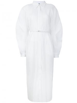Плиссированное платье-рубашка Jil Sander. Цвет: белый