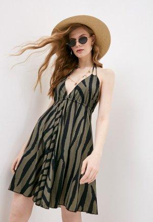 Платье пляжное Pilyq. Цвет: хаки