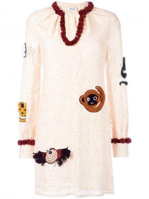 Кружевное платье Au Jour Le. Цвет: телесный