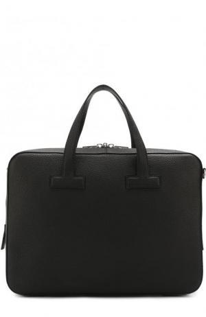 Кожаная сумка для ноутбука с плечевым ремнем Tom Ford. Цвет: черный