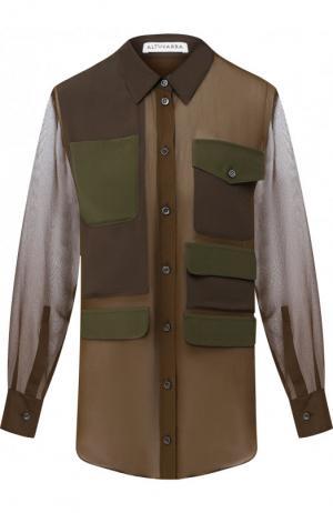 Шелковая блуза с накладными карманами Altuzarra. Цвет: хаки