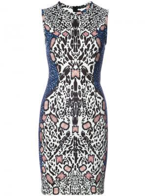 Платье с абстрактным леопардовым принтом Yigal Azrouel. Цвет: многоцветный