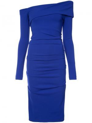 Платье миди с открытыми плечами Nicole Miller. Цвет: синий
