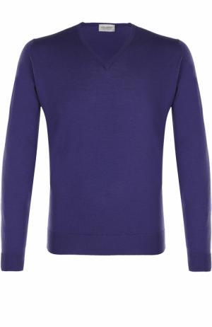 Шерстяной однотонный пуловер John Smedley. Цвет: фиолетовый