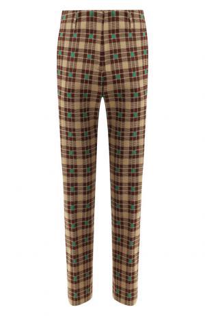 Хлопковые брюки с принтом Dries Van Noten. Цвет: зеленый