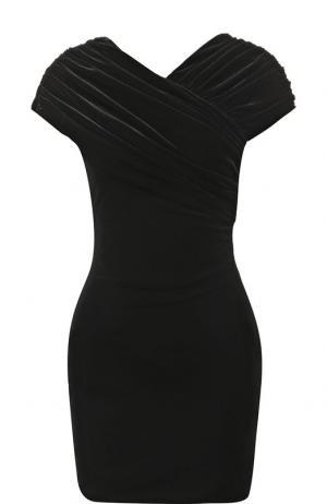 Бархатное мини-платье с драпировкой Christopher Kane. Цвет: черный