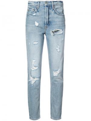 Рваные джинсы Karolina Grlfrnd. Цвет: синий