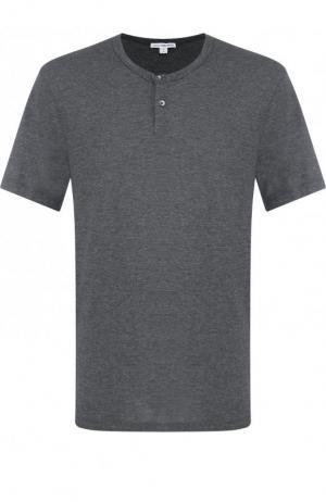 Хлопковая футболка-хенли James Perse. Цвет: темно-серый