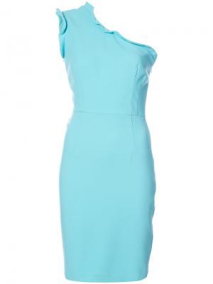 Приталенное платье на одно плечо Black Halo. Цвет: синий