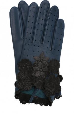 Кожаные перчатки с декоративной отделкой Agnelle. Цвет: синий