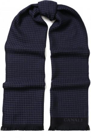 Шерстяной шарф с бахромой Canali. Цвет: темно-фиолетовый