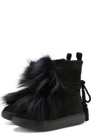 Замшевые ботинки с внутренней отделкой из овчины Baldan. Цвет: черный
