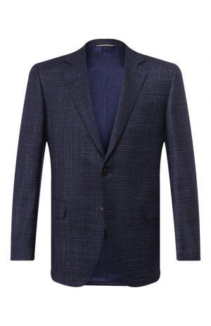Однобортный пиджак из смеси шерсти и шелка Canali. Цвет: темно-синий