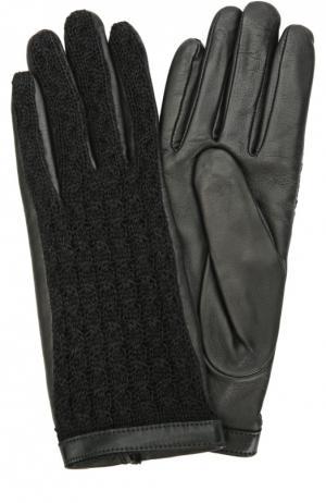 Кожаные перчатки с отделкой из шерсти Agnelle. Цвет: черный