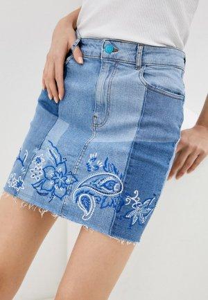 Юбка джинсовая Desigual. Цвет: голубой