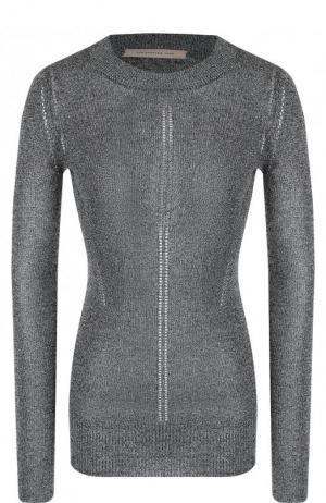 Приталенный вязаный пуловер с круглым вырезом Christopher Kane. Цвет: серебряный