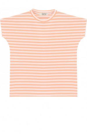 Хлопковая футболка в полоску Aletta. Цвет: оранжевый