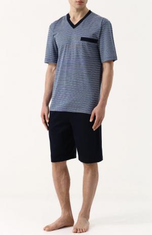 Хлопковая пижама с шортами и футболкой в полоску Zimmerli. Цвет: синий