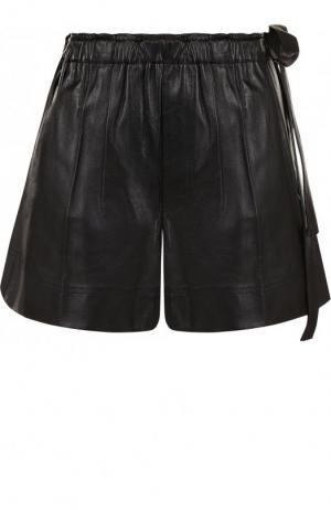 Кожаные шорты c поясом Helmut Lang. Цвет: черный