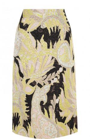 Жаккардовая юбка-миди с принтом Dries Van Noten. Цвет: бежевый