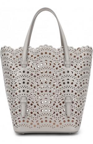 Кожаная сумка с перфорацией Alaia. Цвет: серый