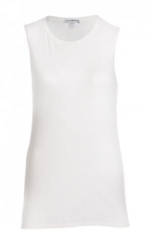 Льняная футболка без рукавов с круглым вырезом James Perse. Цвет: белый