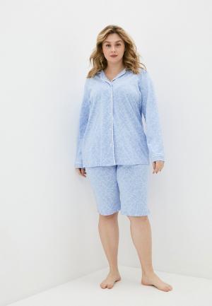 Пижама Ulla Popken. Цвет: голубой