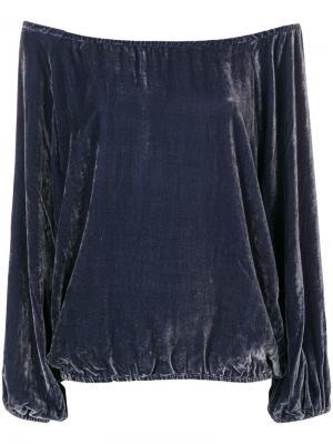 Бархатная блузка Gianni Mes Demoiselles. Цвет: синий