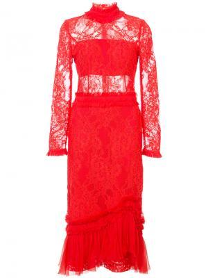 Кружевное платье Anabella Alexis. Цвет: красный