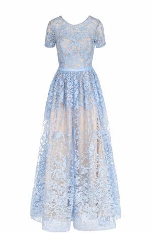Приталенное кружевное платье с коротким рукавом Basix Black Label. Цвет: голубой