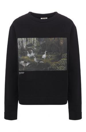 Хлопковый пуловер с принтом Acne Studios. Цвет: черный