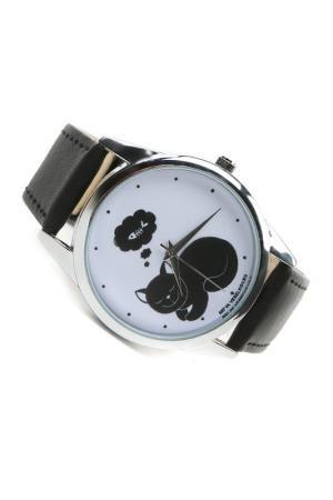 Часы Кошка мечтает MITYA VESELKOV. Цвет: черный