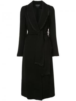 Пальто с шалевыми лацканами бахромой Yigal Azrouel. Цвет: чёрный