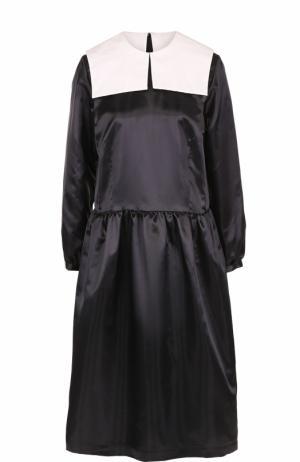 Приталенное платье-миди с контрастным воротником Comme des Garcons GIRL. Цвет: черно-белый