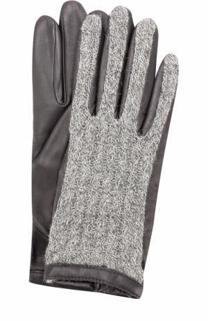 Кожаные перчатки с отделкой из шерсти Agnelle. Цвет: темно-серый