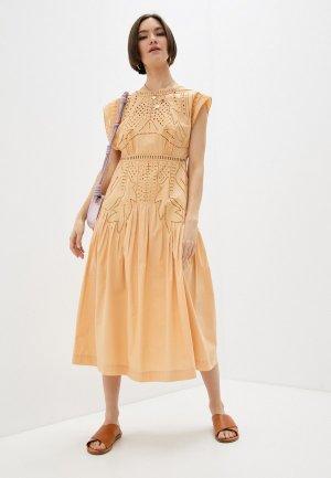 Платье Alberta Ferretti. Цвет: оранжевый