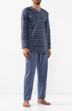 Хлопковая пижама с брюками Hanro. Цвет: синий