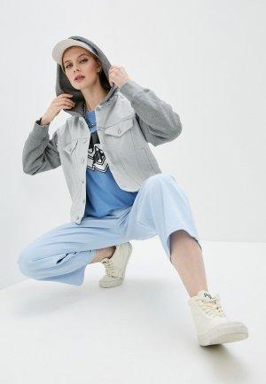 Куртка джинсовая MM6 Maison Margiela. Цвет: серый