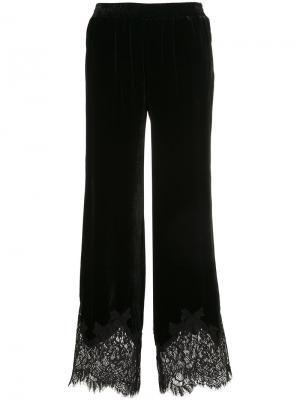 Бархатные брюки с кружевной отделкой Gold Hawk. Цвет: чёрный
