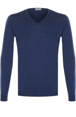 Шерстяной однотонный пуловер John Smedley. Цвет: синий
