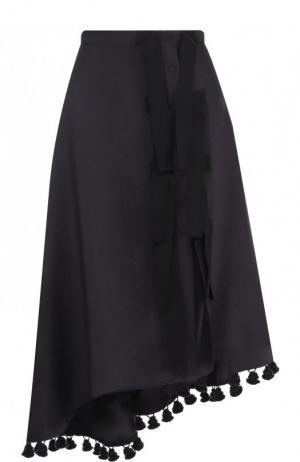 Однотонная юбка-миди с оборками и декоративной отделкой Altuzarra. Цвет: черный