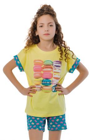 Костюм - футболка, бриджи BATIK. Цвет: желтый