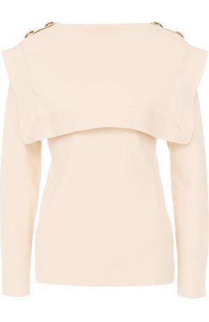 Вязаный пуловер с кейпом Chloé. Цвет: бежевый
