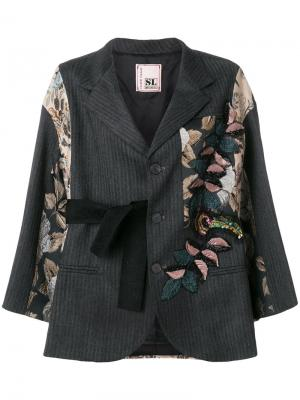 Пиджак в стиле оверсайз с парчовыми вставками Antonio Marras. Цвет: серый