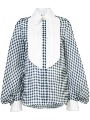 Блузка в клетку гингем Dice Kayek. Цвет: синий